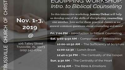 Equipping Workshop: Introduction to Biblical Counseling